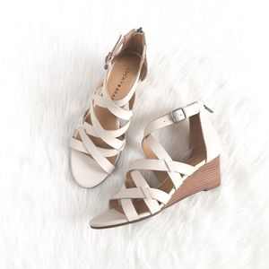 Lucky Brand | cream leather strappy wedge sandals